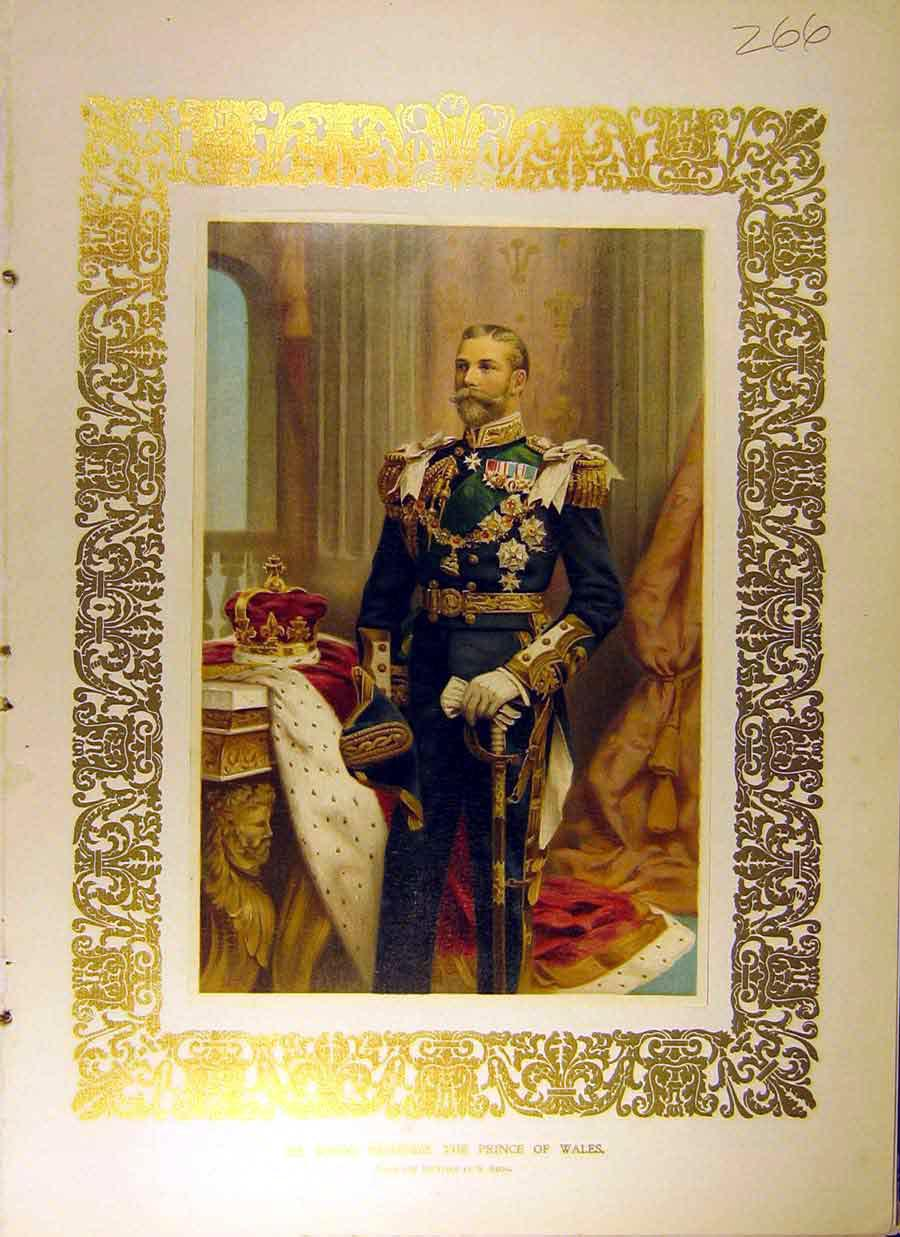 Print 1902 Portrait Prince Wales Royal Begg 668831 Old Original