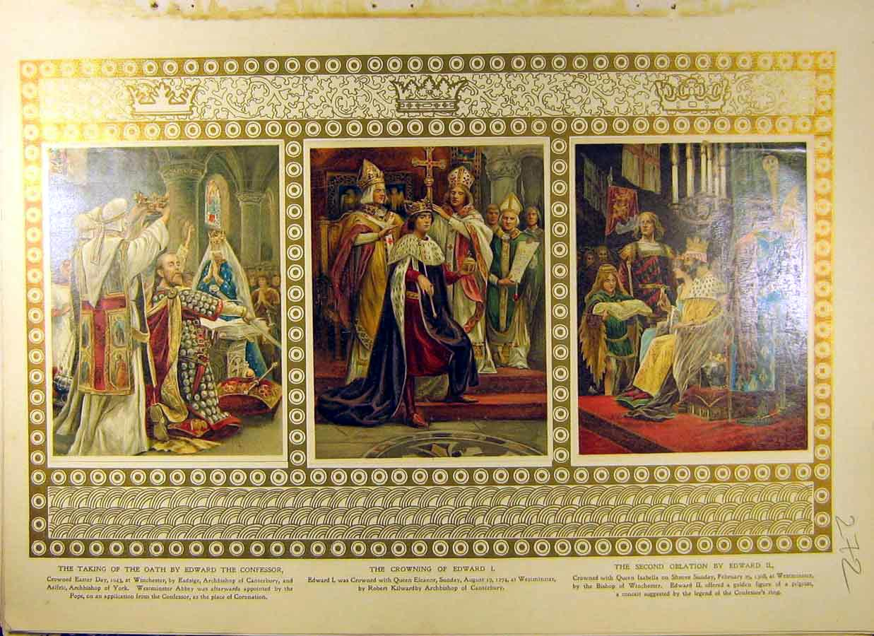 Print 1902 Coronation Edward Queen Eleanor Isabella 728831 Old Original