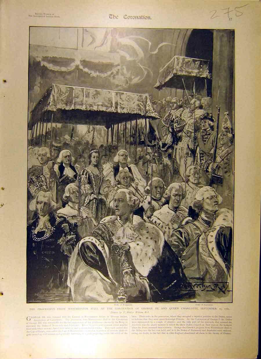 Print 1902 Coronation George-Iii Queen Charlotte Procession 758831 Old Original