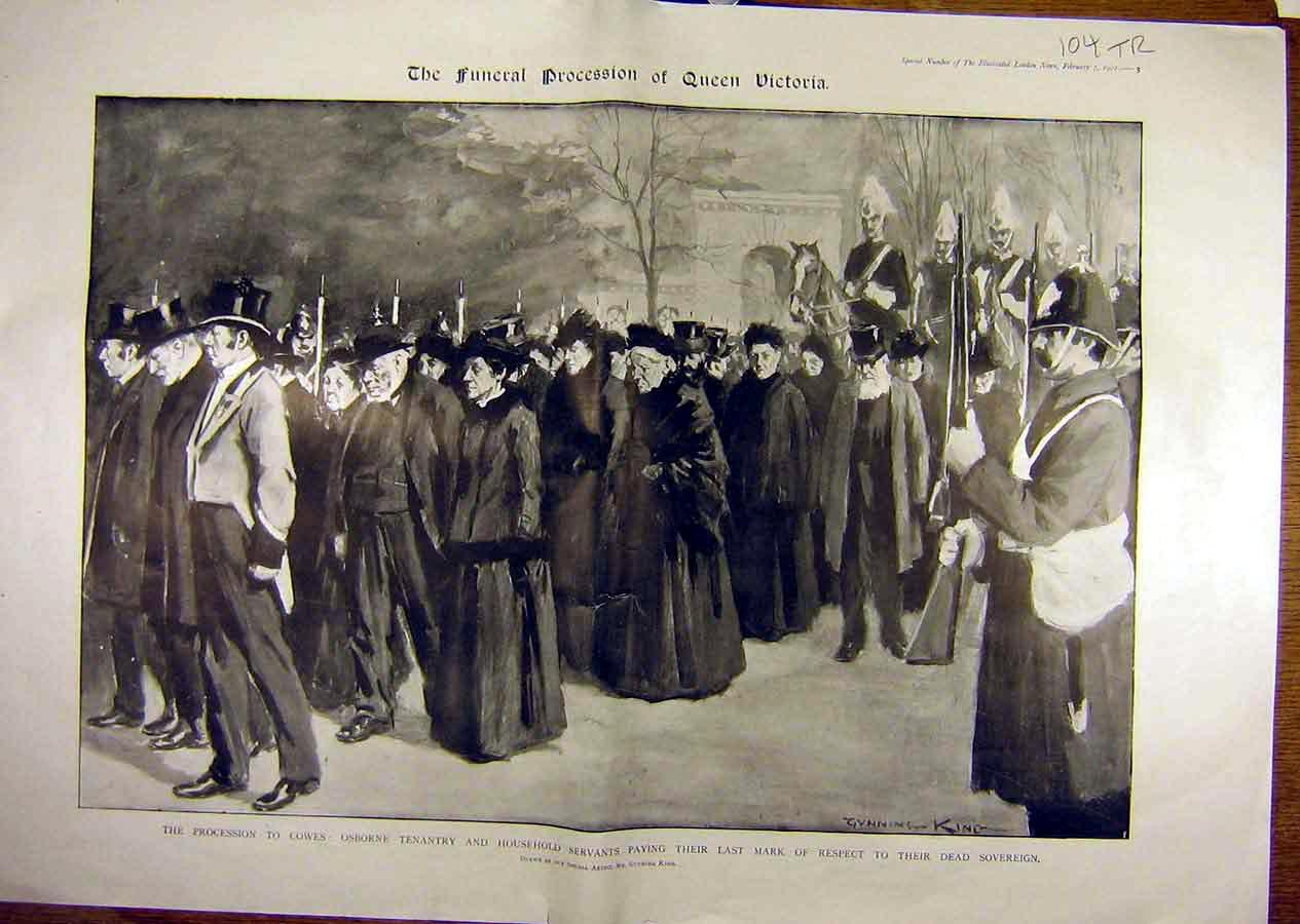 Print 1901 Queen Victoria Sovereign Funeral Cowes Alberta 04T8841 Old Original