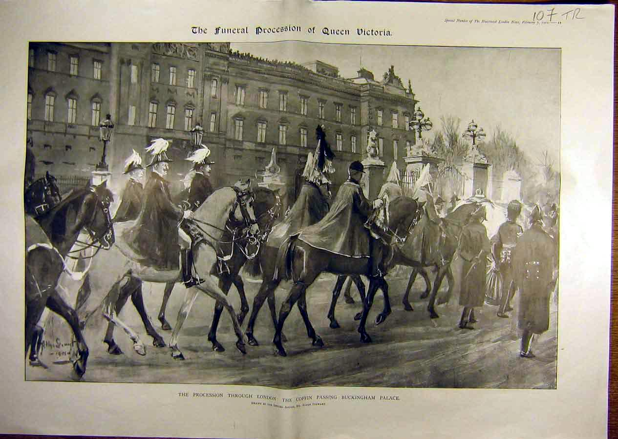 Print 1901 Queen Funeral Buckingham Palace Coffin London 07T8841 Old Original