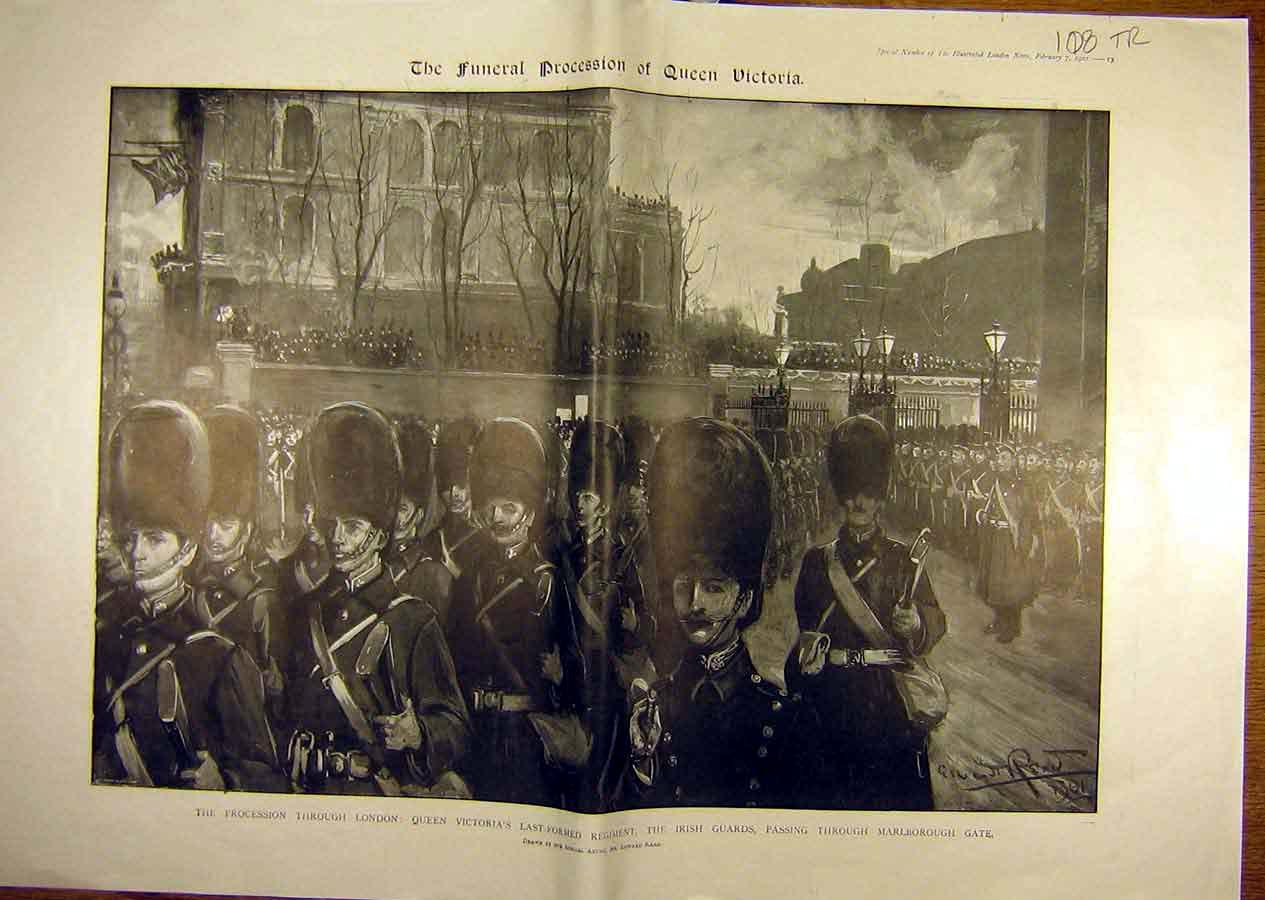 Print 1901 Funeral Queen Victoria Guards King Edward-Vii 08T8841 Old Original