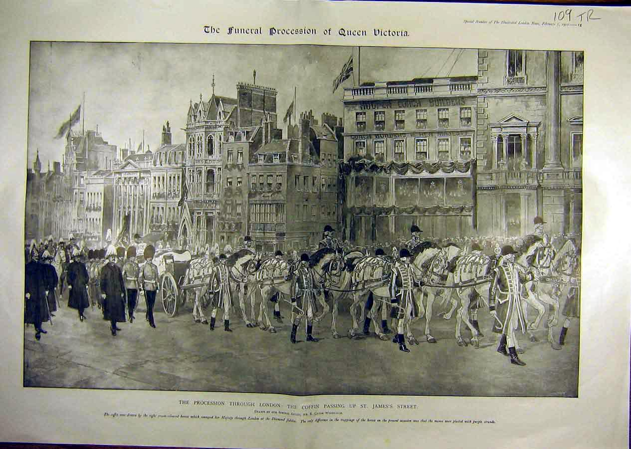 Print 1901 Queen Victoria Coffin Procession London Piccadilly 09T8841 Old Original