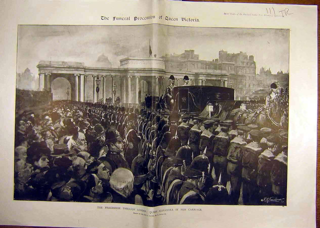 Print 1901 Queen Victoria Funeral Alexandra Procession London 11T8841 Old Original