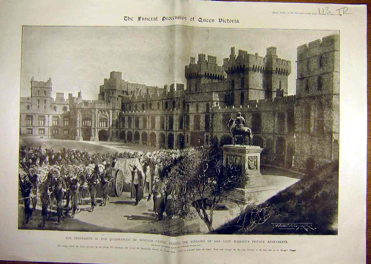 Print 1901 Queen Victoria Funeral Service Windsor Procession 13T8841 Old Original