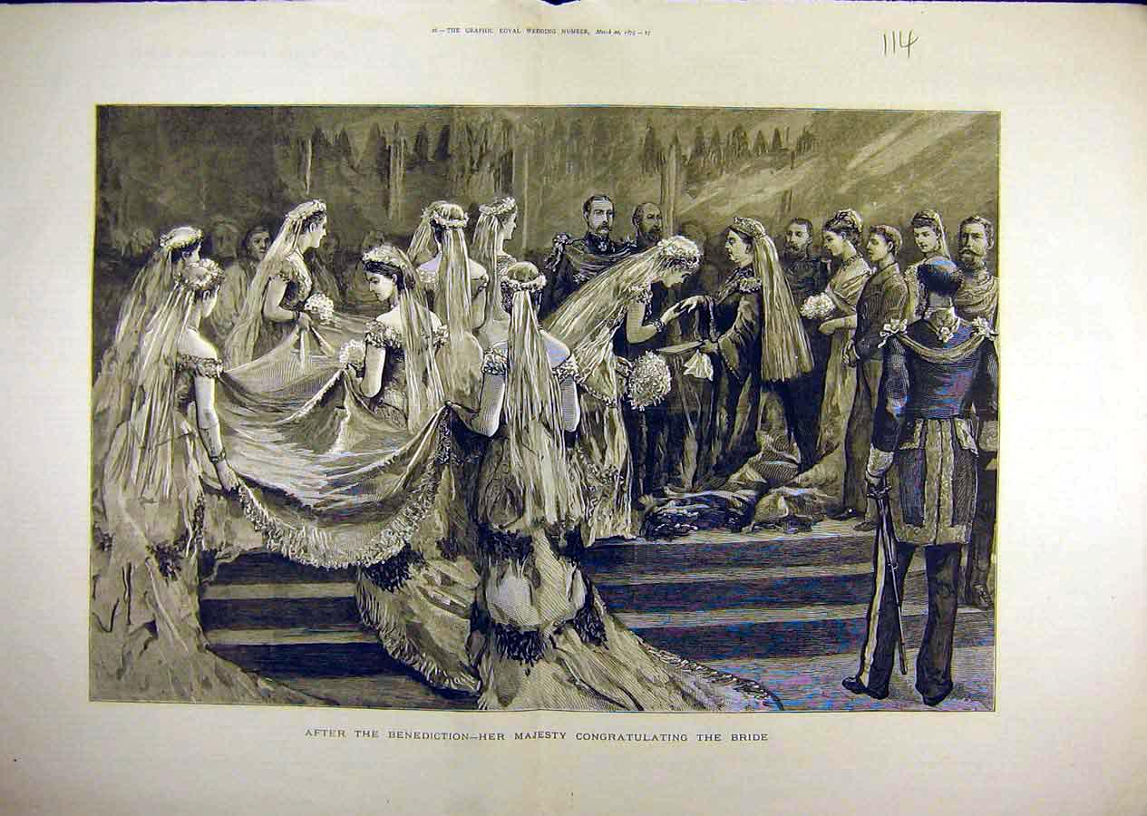 Print 1879 Benediction Duke Connaught Wedding Bride Queen 14T8841 Old Original