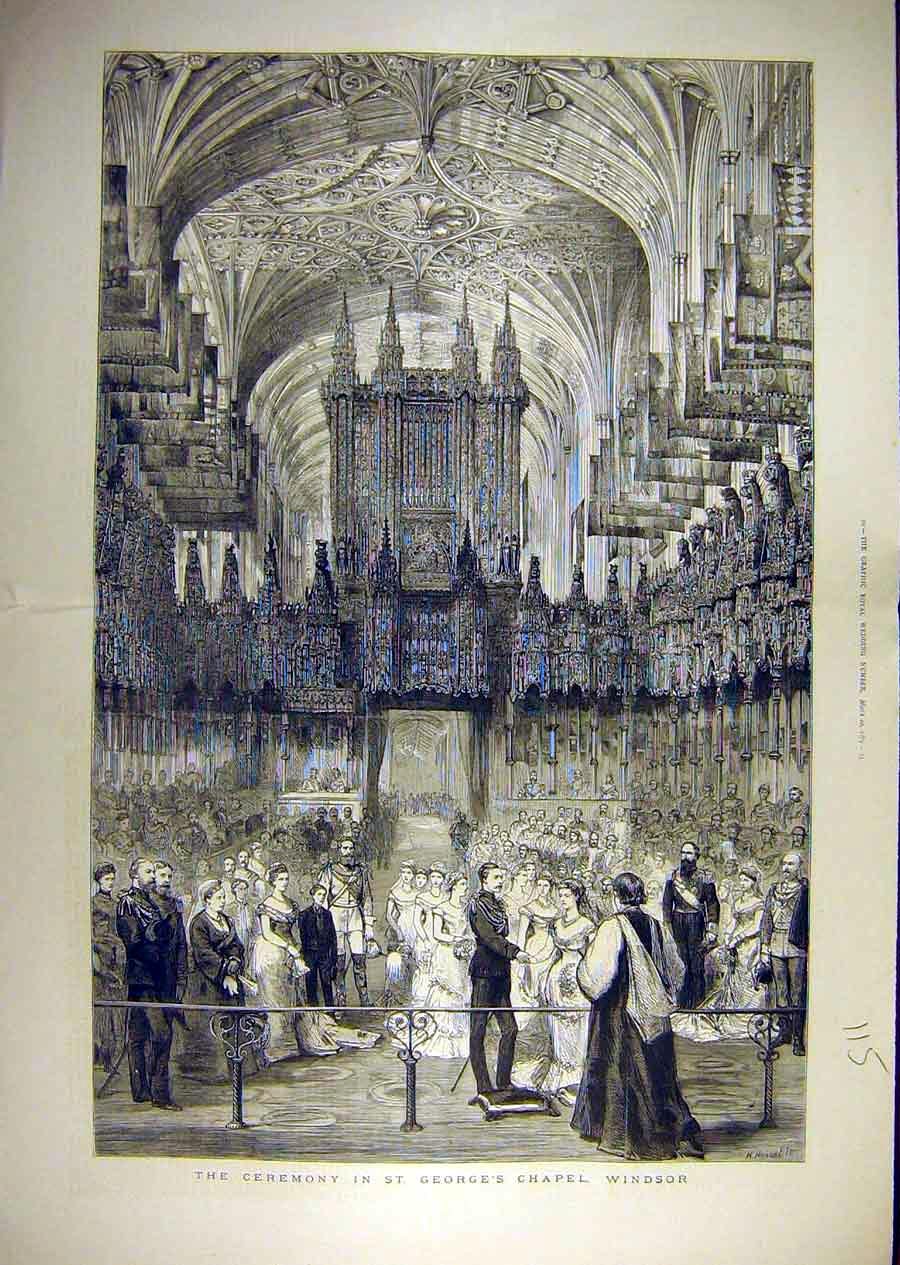 Print 1879 Ceremony Duke Connaught Marriage Windsor Chapel 15T8841 Old Original