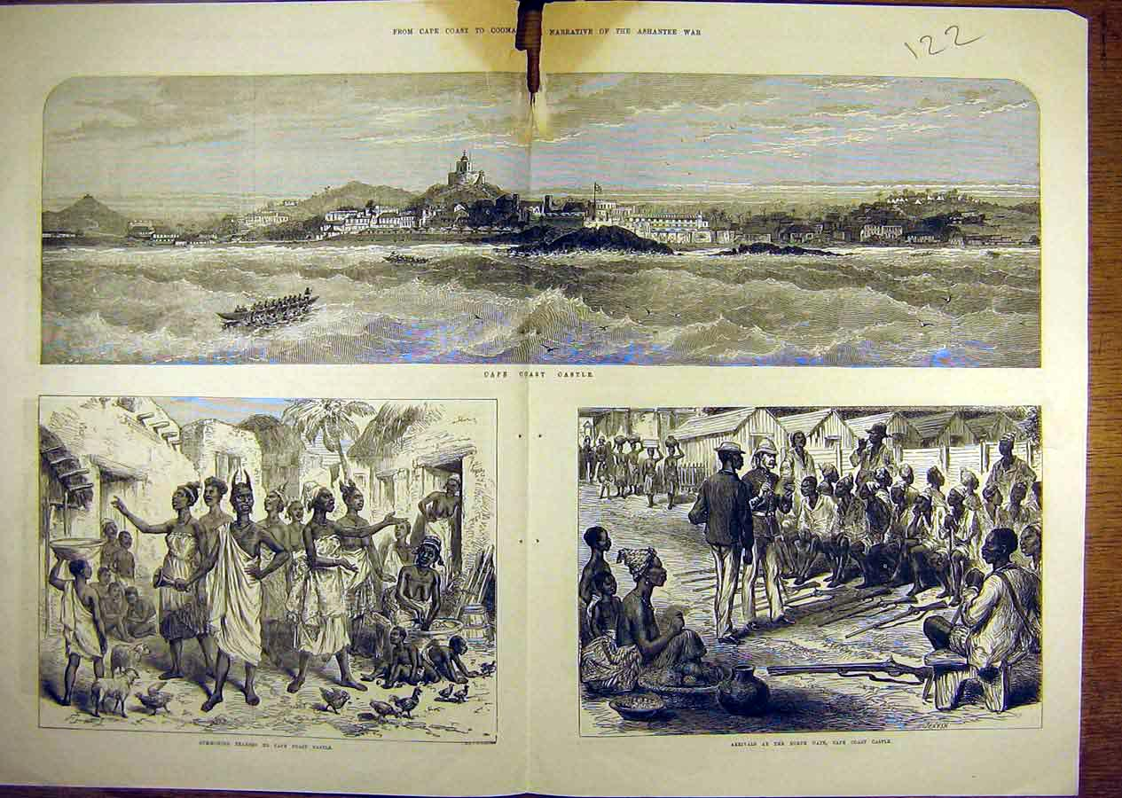 Print Ashantee War Coomassie Cape-Coast Castle Natives 22T8841 Old Original