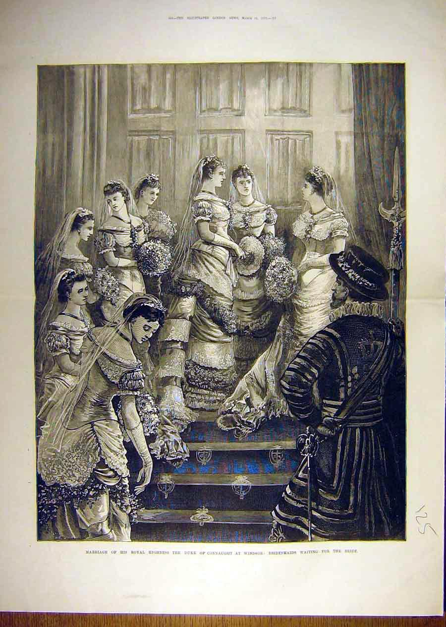 Print 1879 Marriage Duke Connaught Bridesmaid Windsor 25T8841 Old Original