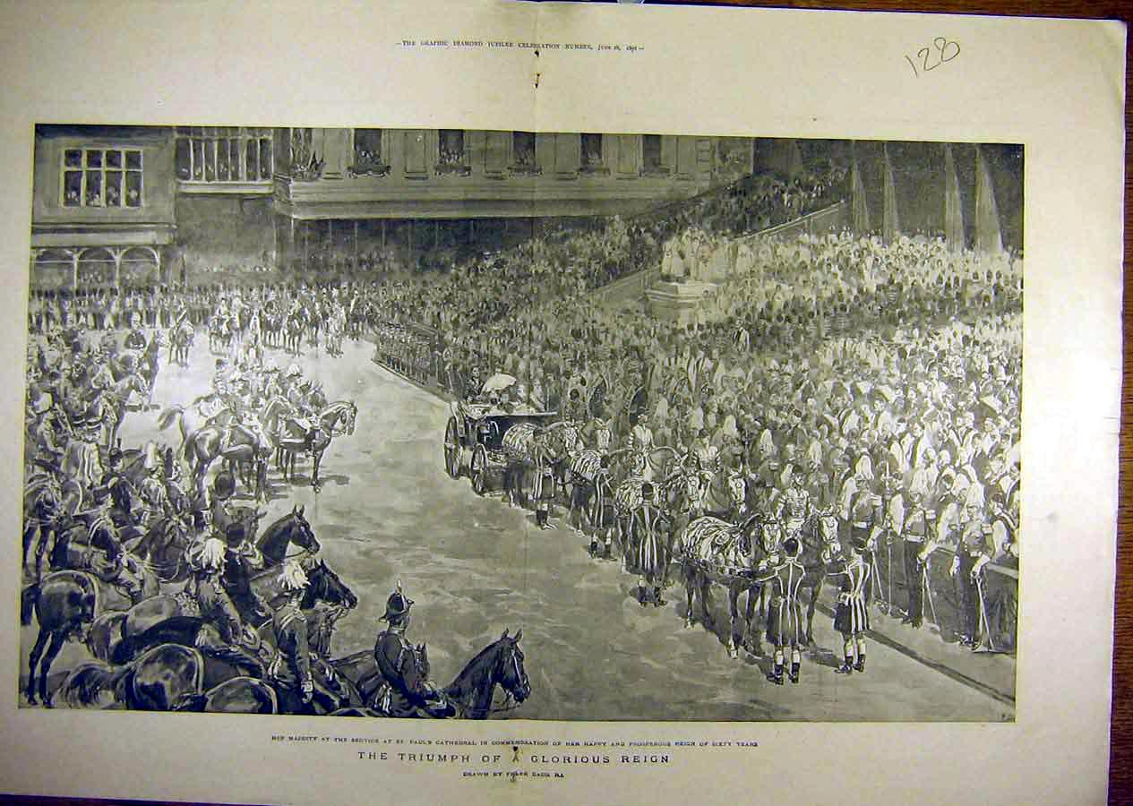 Print 1897 Queen Jubilee Yeomen Review Procession Dadd 28T8841 Old Original