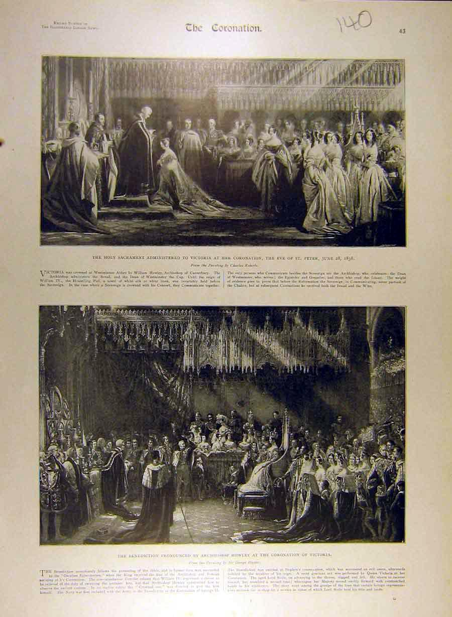 Print Coronation Victoria Sacrament Benediction Howley 408841 Old Original