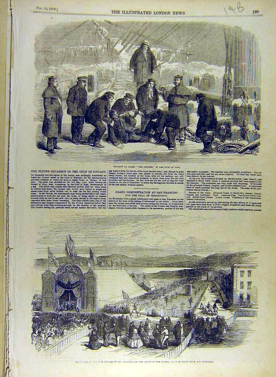 Print 1856 The-Cruiser Gulf-Riga Crimea Allied Troops 488841 Old Original