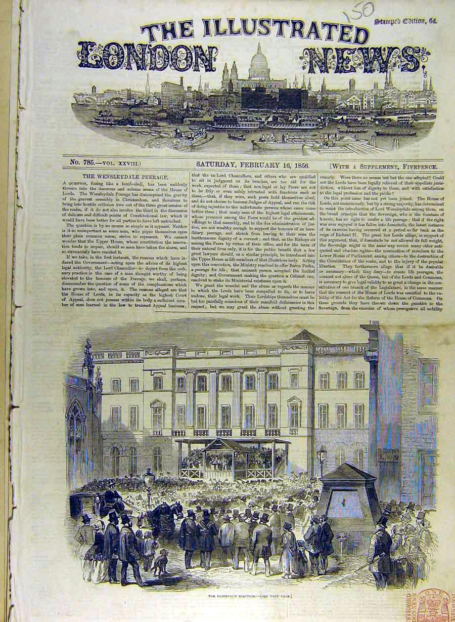 Print 1856 Edinbught Election Crowd People Scotland 508841 Old Original