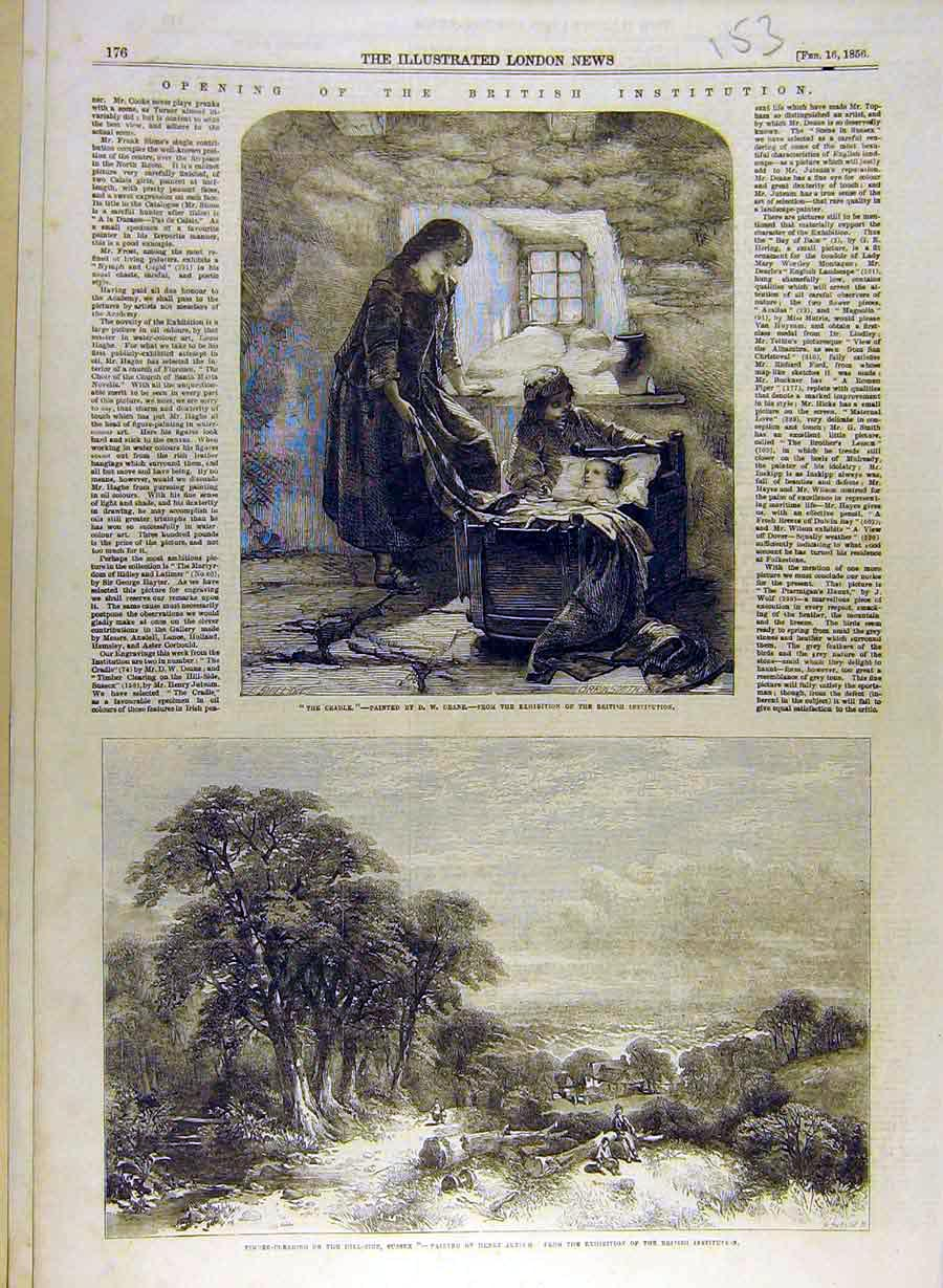 Print 1856 Cradle Deane Timber-Clearing Sussex Jutsum 538841 Old Original