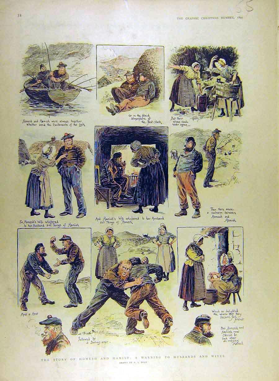 Print 1895 Boyd Homesh Hamish Husbands Wives Warning Sketch 558841 Old Original