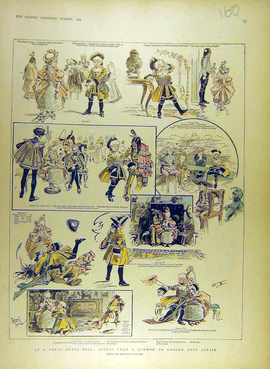 Print 1895 Fancy Dress Ball Sketches Scenes Love-Afffair 608841 Old Original