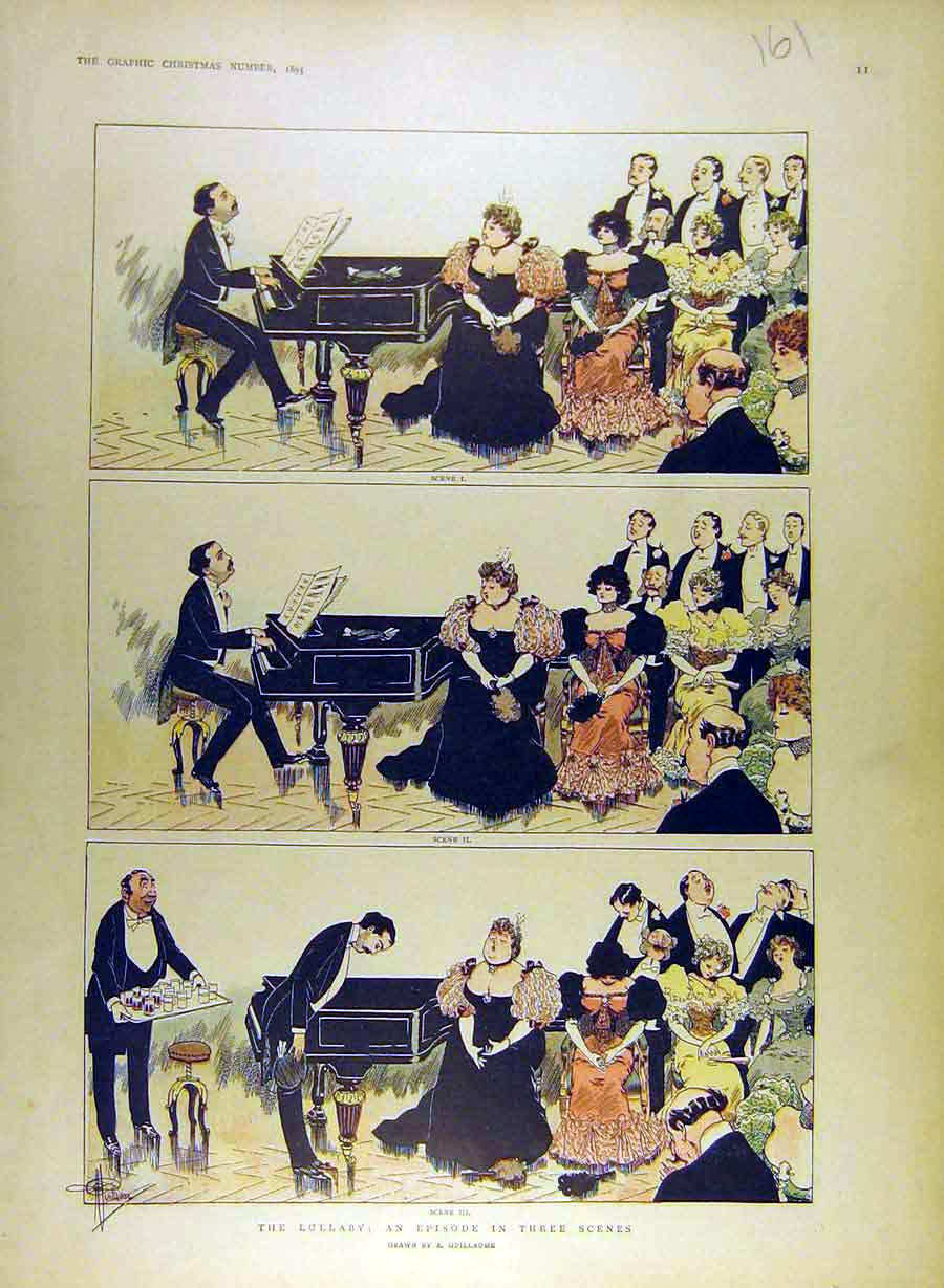 Print 1895 Lullaby Episode Sketches Theatre Play Guillaume 618841 Old Original