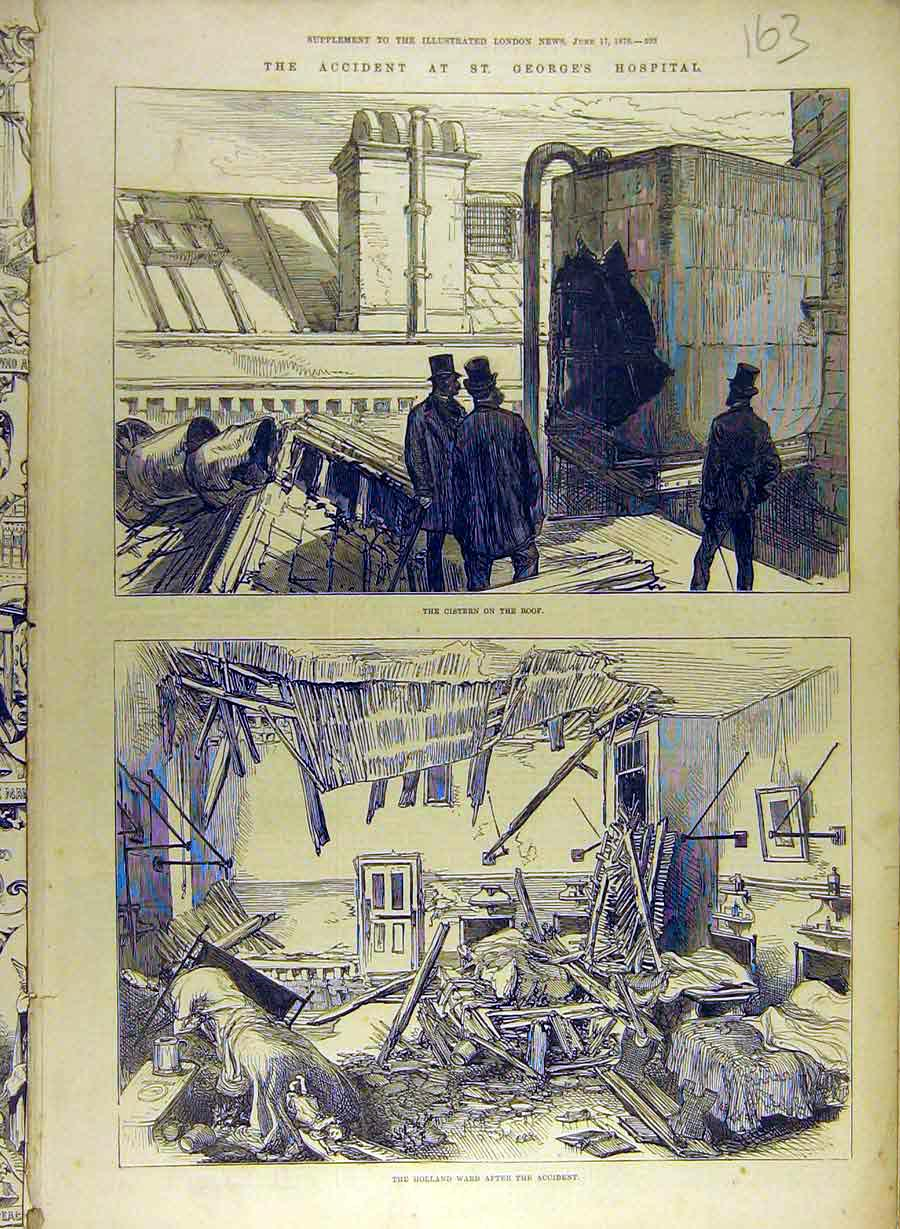 Print 1876 Accident St.George'S Hospital Cistern Holland Ward 638841 Old Original
