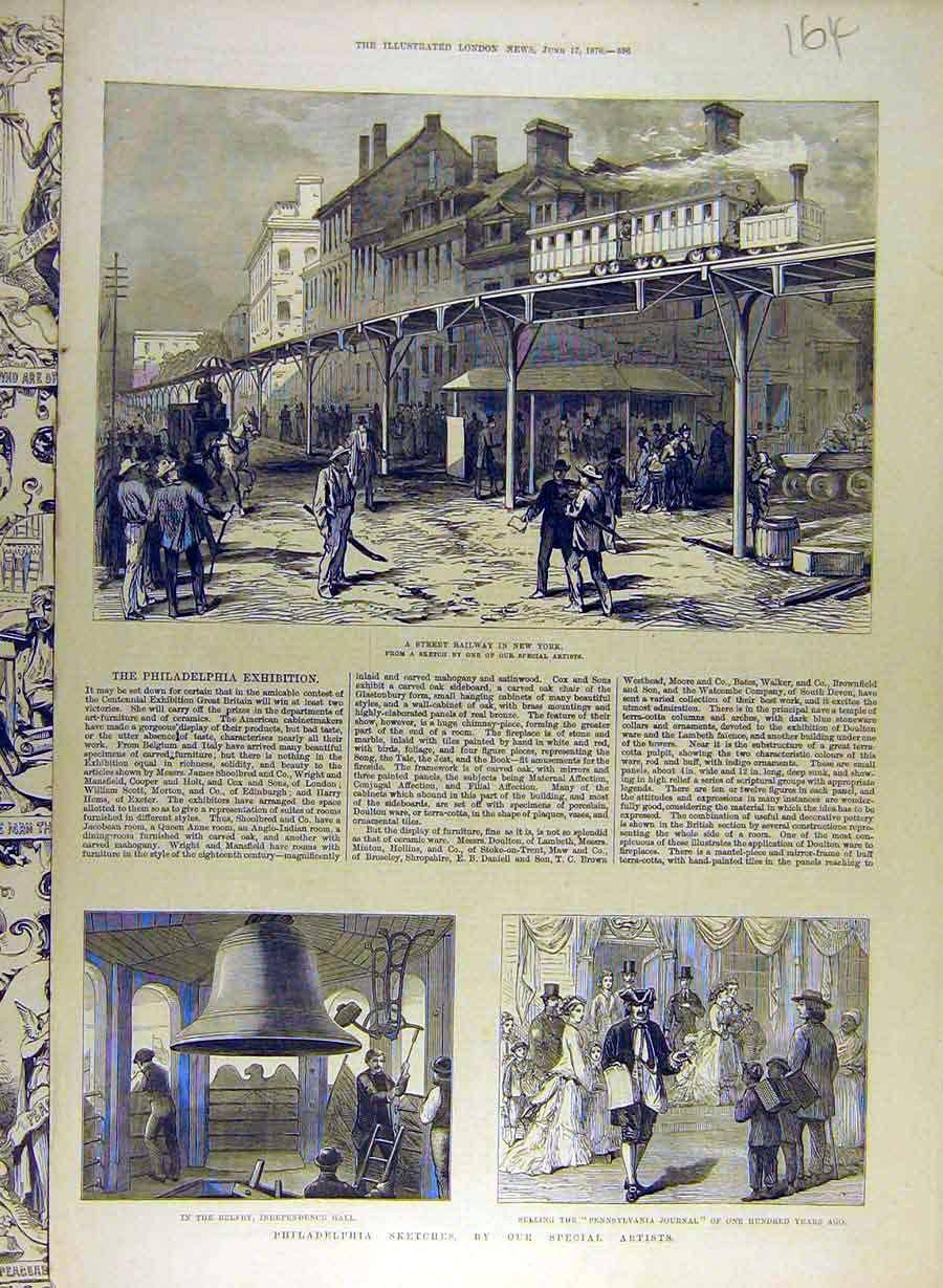 Print 1876 Philadelphia Exhibition New-York Belfry Skecthes 648841 Old Original