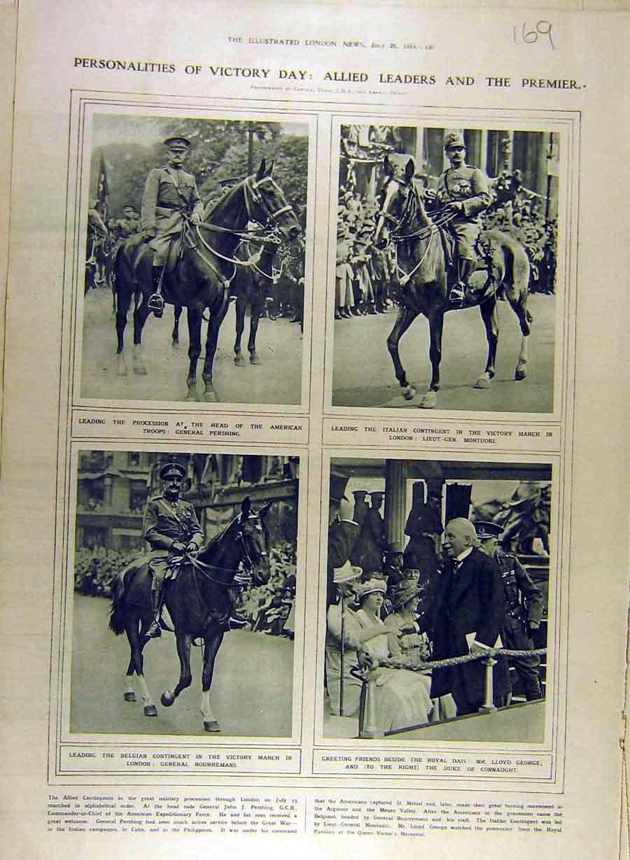 Print 1919 Allied Leaders Victory Day Military Italian 698841 Old Original