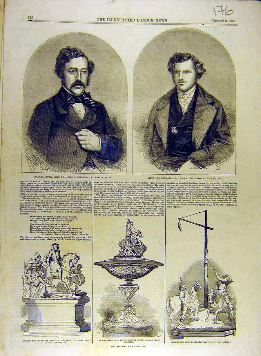 Print 1856 Portrait Lake Teesdale Statue Goodwood Race Plate 768841 Old Original