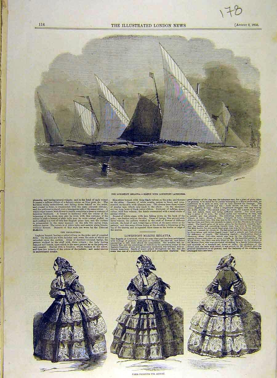 Print 1856 Lowestoft Regatta Lateeners Paris Fashion Ladies 788841 Old Original