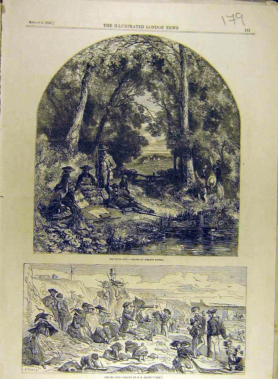 Print 1856 River-Side Foster Sea-Side Brown Beach 798841 Old Original