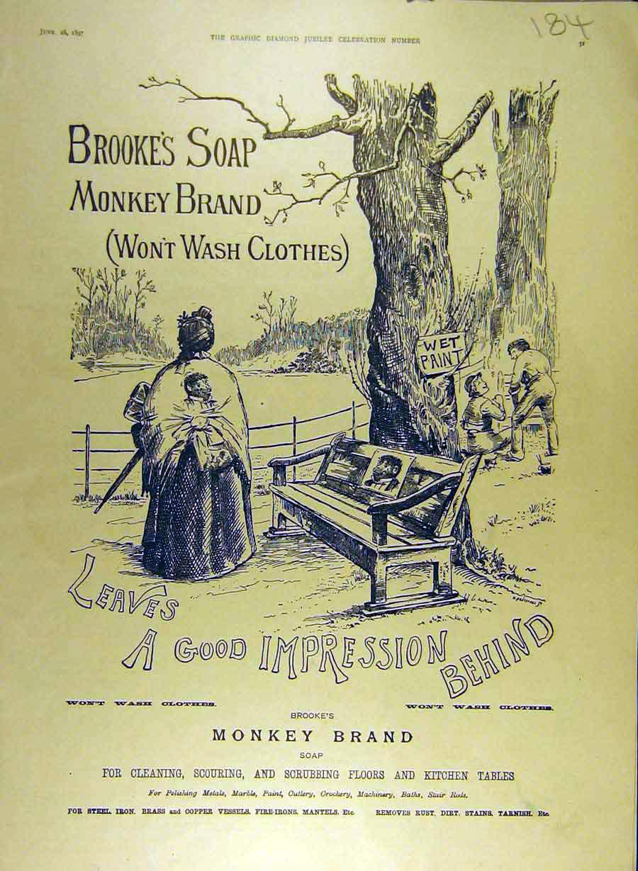Print 1897 Brooke'S Soap Monkey Brand Wet-Paint Bench Lady 848841 Old Original