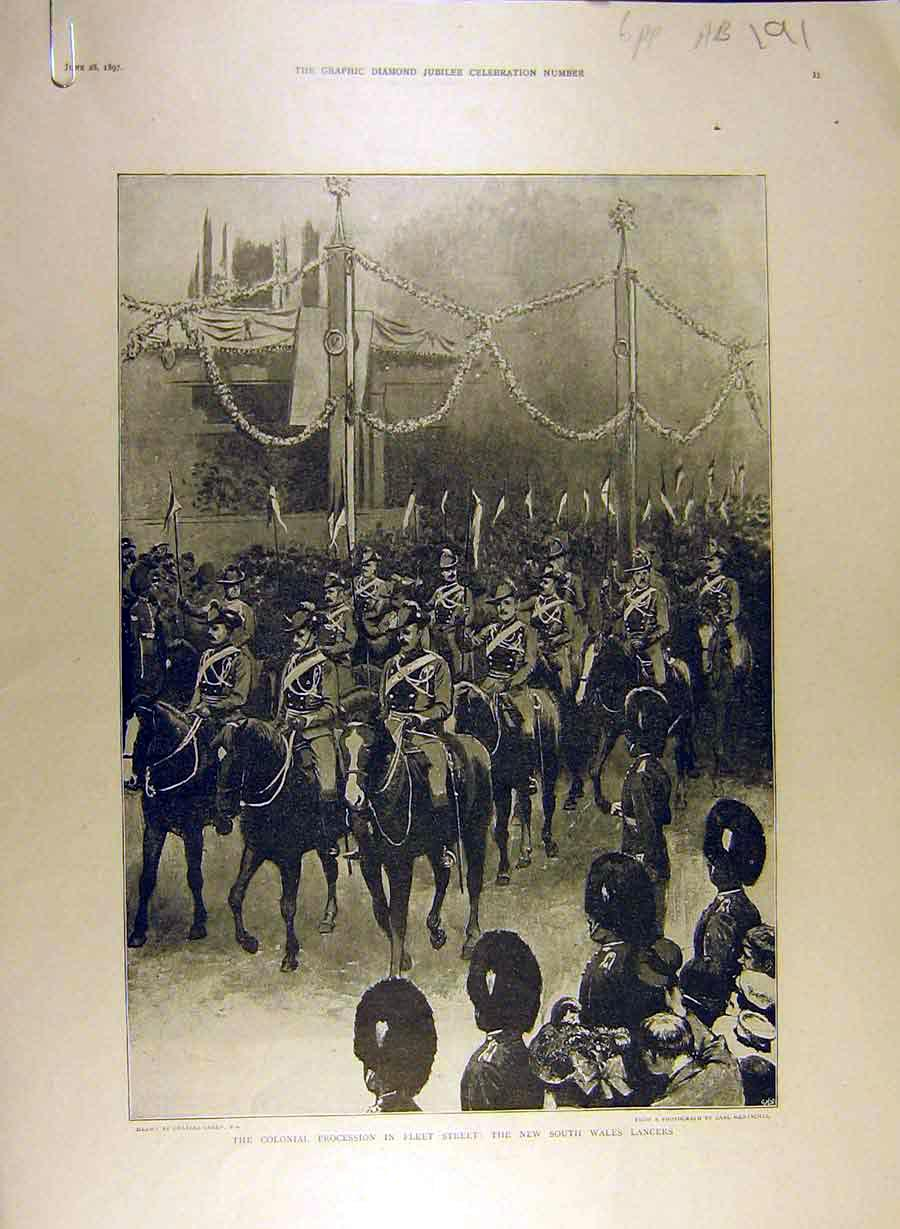 Print 1897 Jubilee Colonial Procession Lancers Charing-Cross 91A8841 Old Original