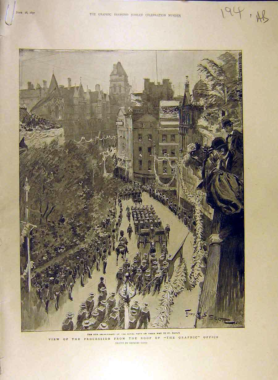 Print 1897 Procession Graphic Office Royal Navy Mayor Queen 94A8841 Old Original