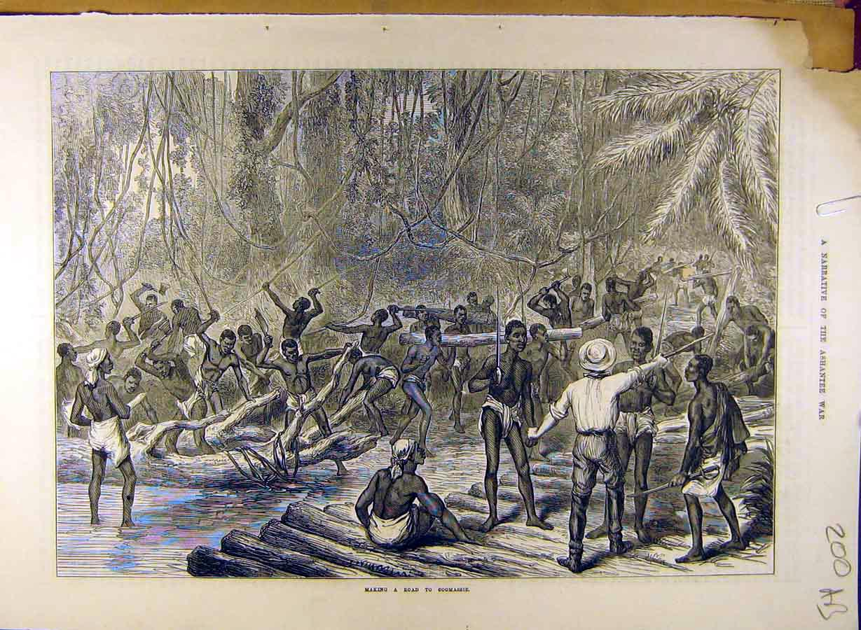 Print Ashantee War Coomassie Ammunition Prisoners 00A8841 Old Original