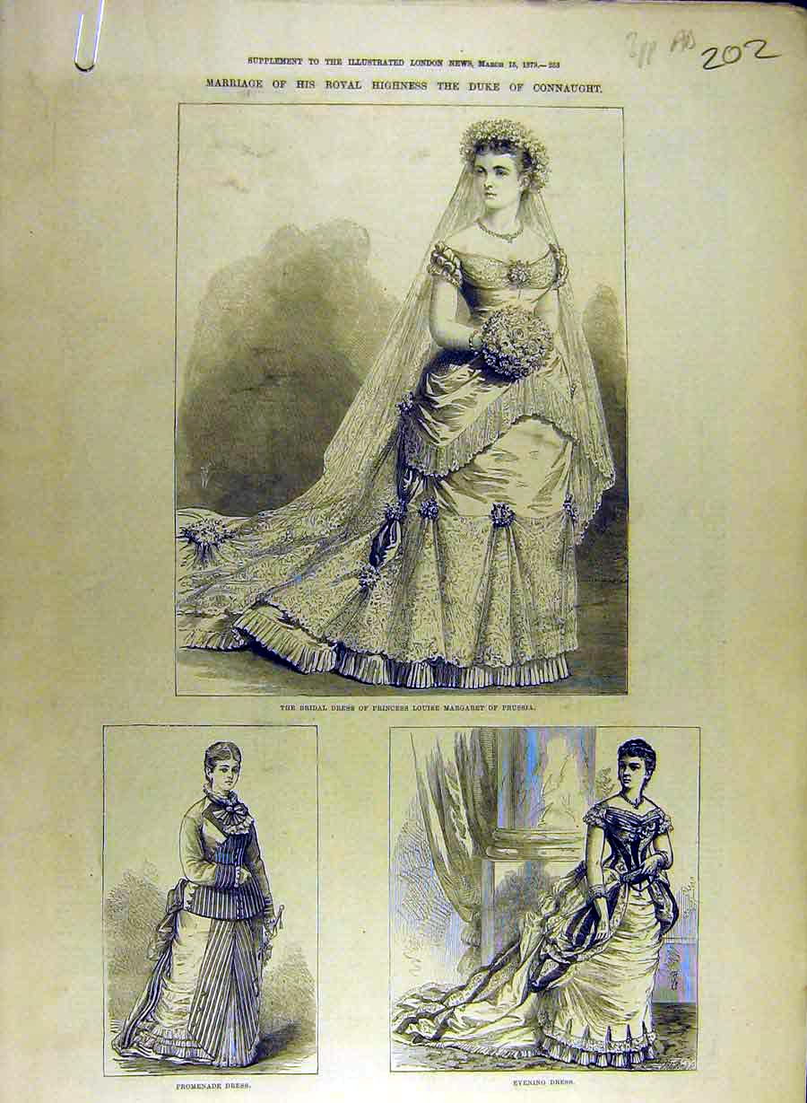 Print 1879 Marriage Duke Connaught Bride Gown Pearl Bracelet 02A8841 Old Original