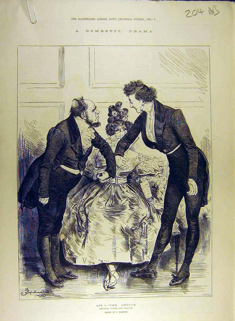Print 1880 Domestic Drama Scenes Barnard Sketch Theatre 04A8841 Old Original
