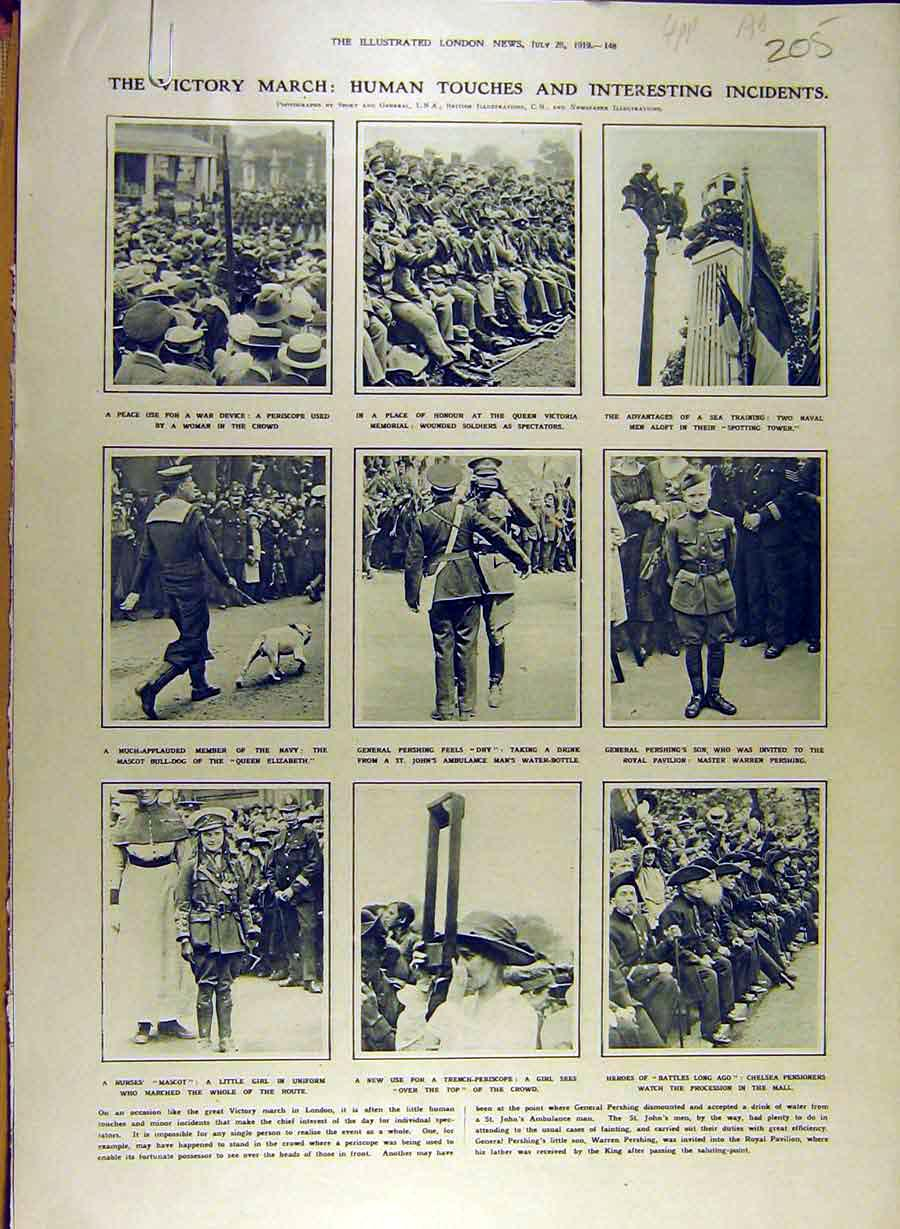Print 1919 Victory March Procession People London 05A8841 Old Original