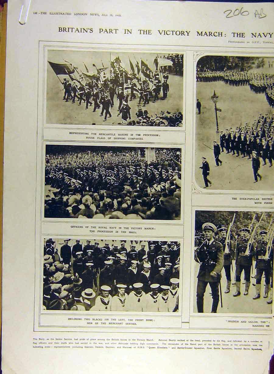 Print 1919 Victory March Navy Women'S Services Marine 06A8841 Old Original