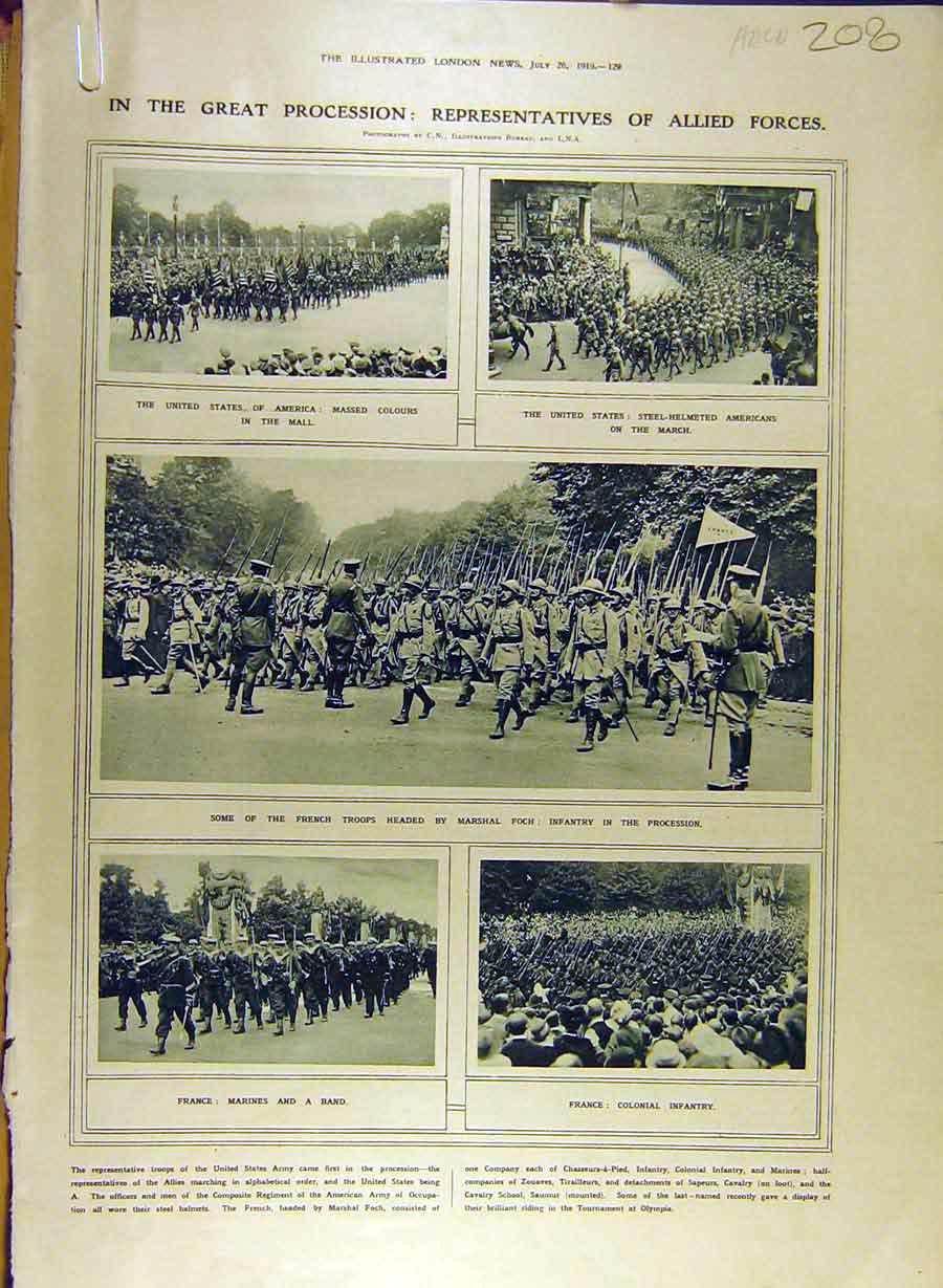 Print 1919 Allied Forces Victory-Day War Procession 08A8841 Old Original