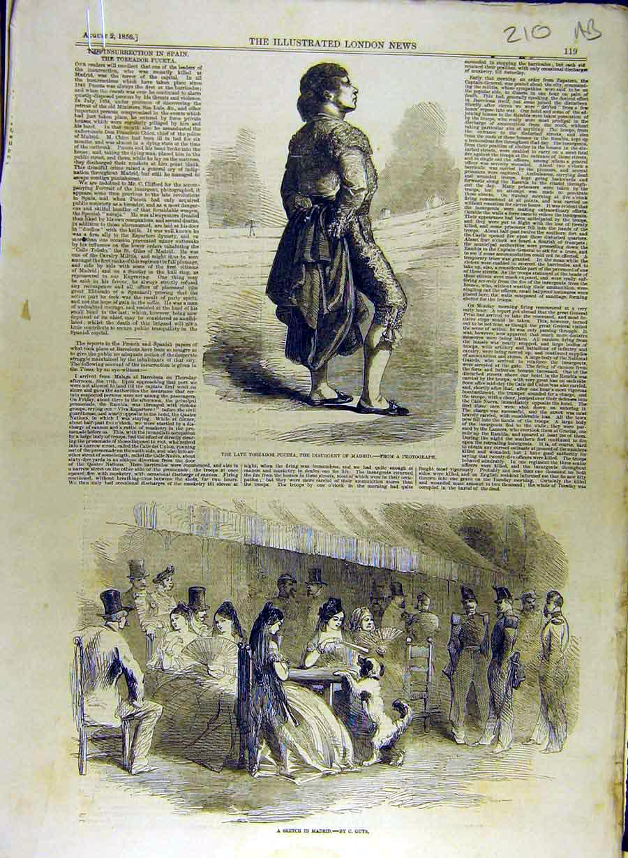 Print 1856 Toreador Puceta Madrid Sketch Spain Spanish 10A8841 Old Original