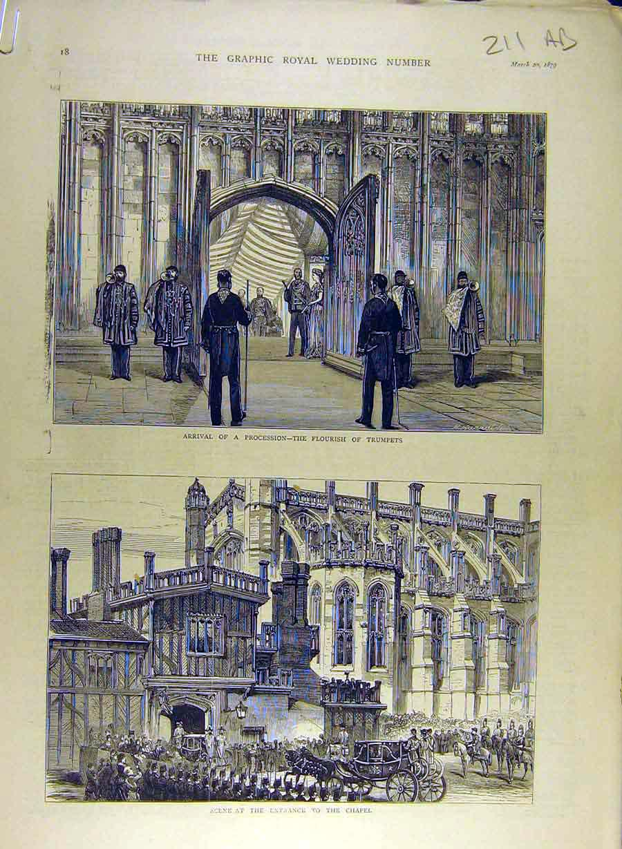 Print 1879 Royal Wedding Connaught Chapel Procession Arthur 11A8841 Old Original