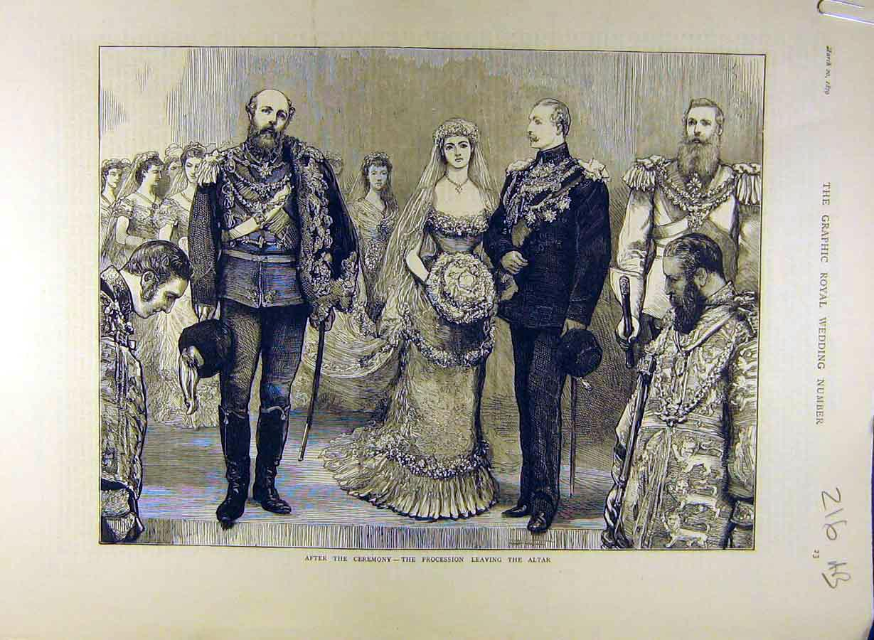 Print 1879 Royal Wedding Ceremony Bride Duchess Connaught 16A8841 Old Original