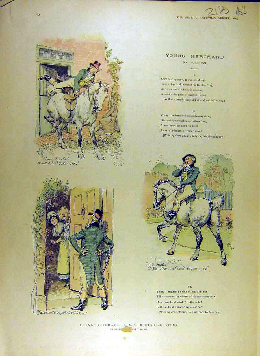 Print 1895 Young-Herchand Story Somersetshire Thomson 18A8841 Old Original