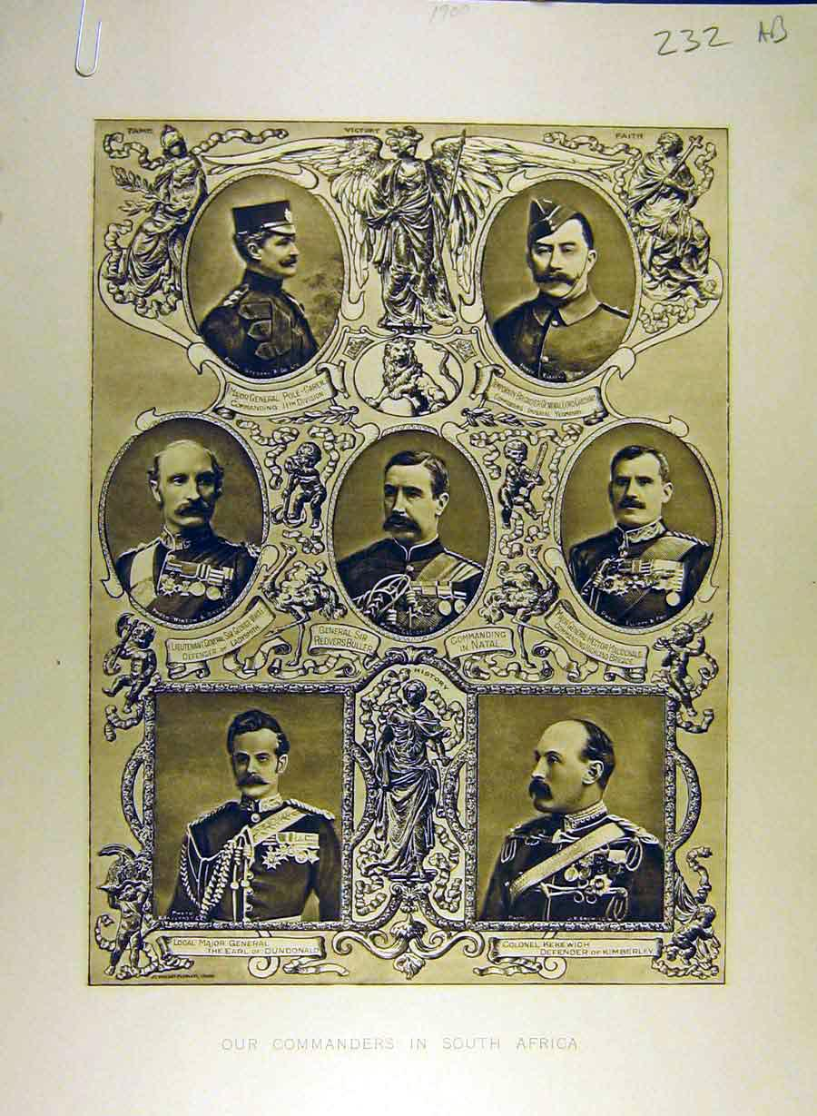 Print 1900 Commanders South-Africa War Military Officers 32A8841 Old Original