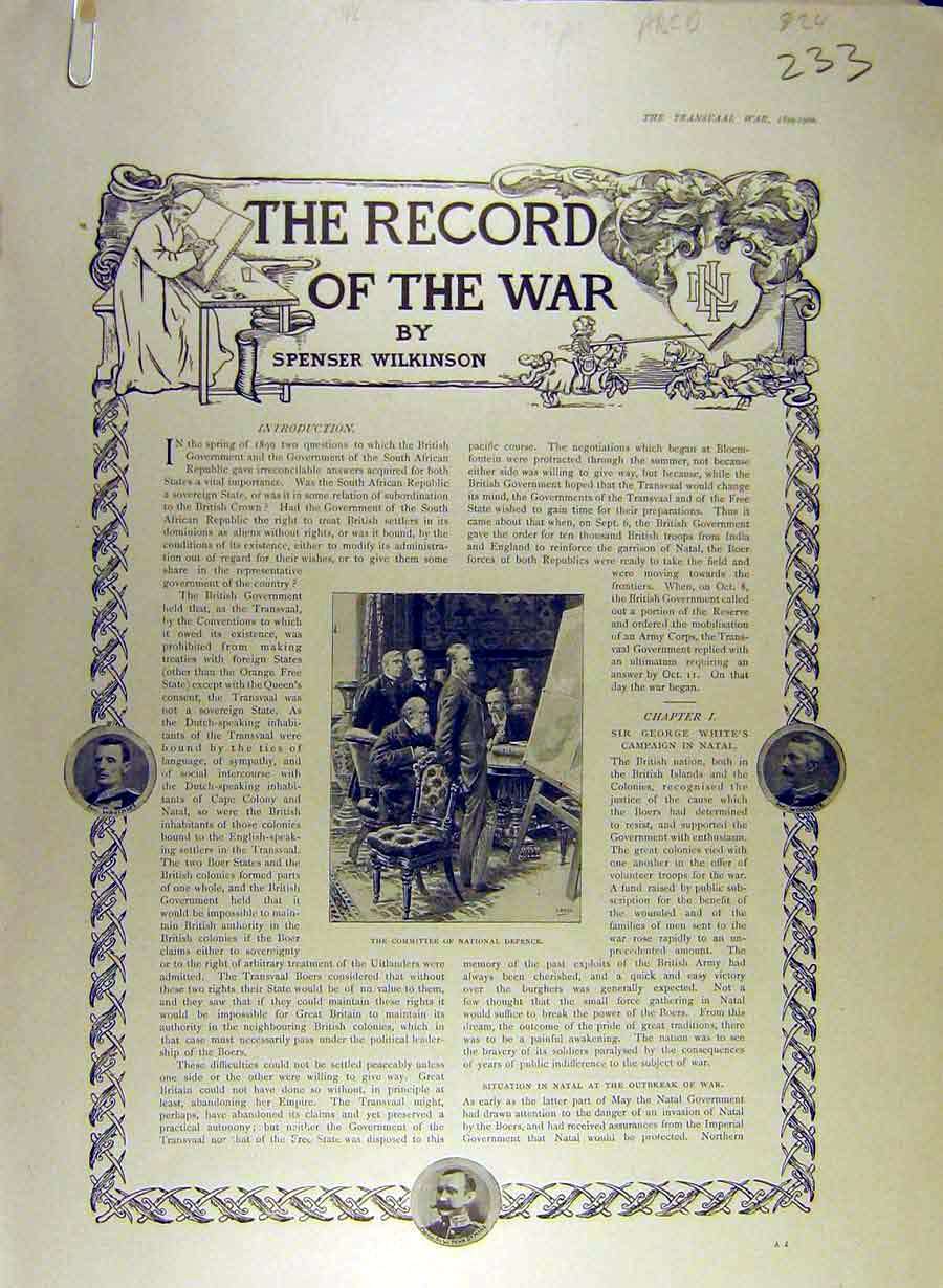 Print 1900 War-Record Africa Natal Methuen Military 33A8841 Old Original