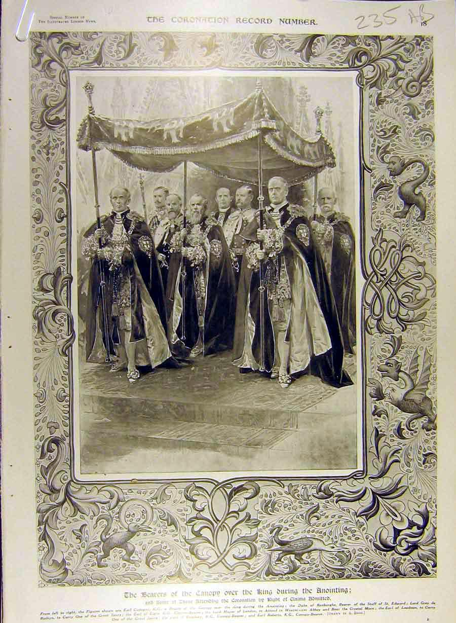 Print 1911 Coronation Canopy King Annointing Anglo-Saxon 35A8841 Old Original