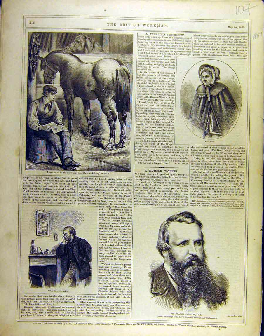 Print 1869 Portrait Worker Crossley Boyd Stable 078851 Old Original
