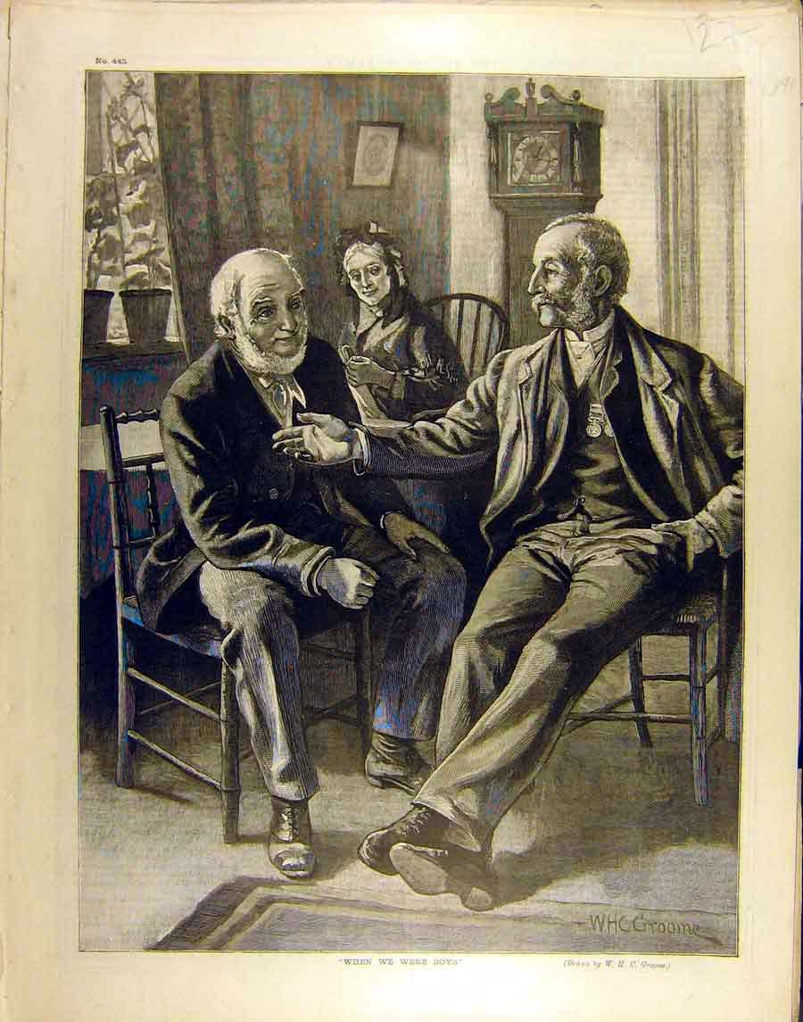 Print 1891 When-We-Were-Boys Groome Gentlemen Fine Art 278851 Old Original
