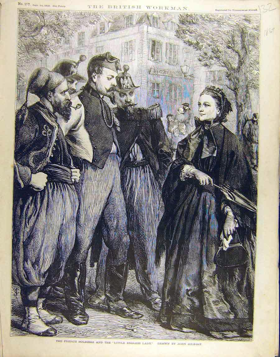 Print 1869 French Soldiers Little-English-Lady Gilbert 328851 Old Original