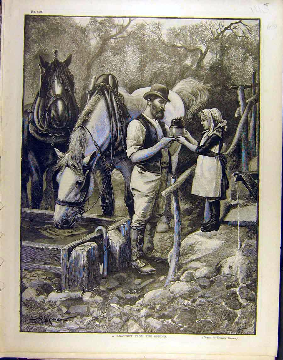Print 1890 Spring Child Water Gentleman Horses Burton 458851 Old Original