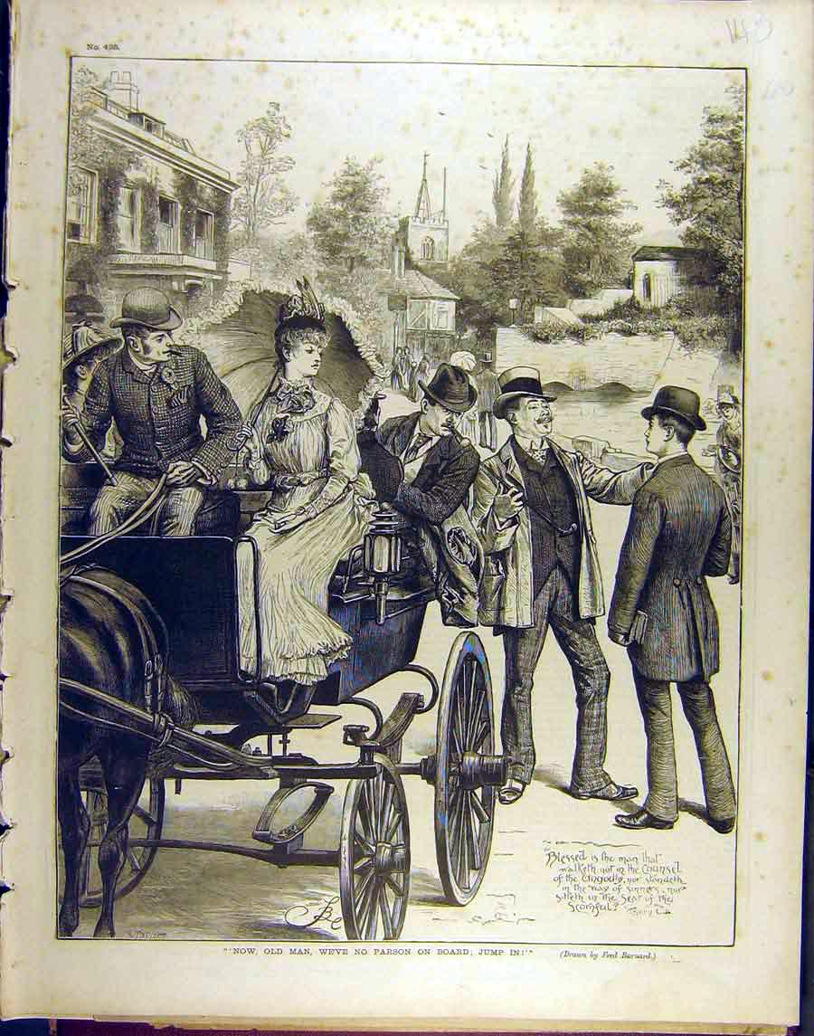Print 1890 Parson Religious Horse Carriage Barnard 488851 Old Original