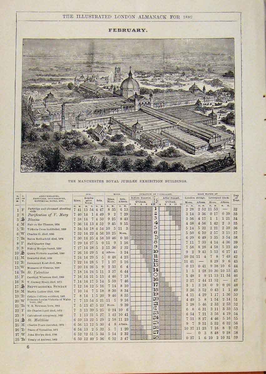 Print 1889 Manchester Royal Jubilee Exhibition Buildings 028901 Old Original