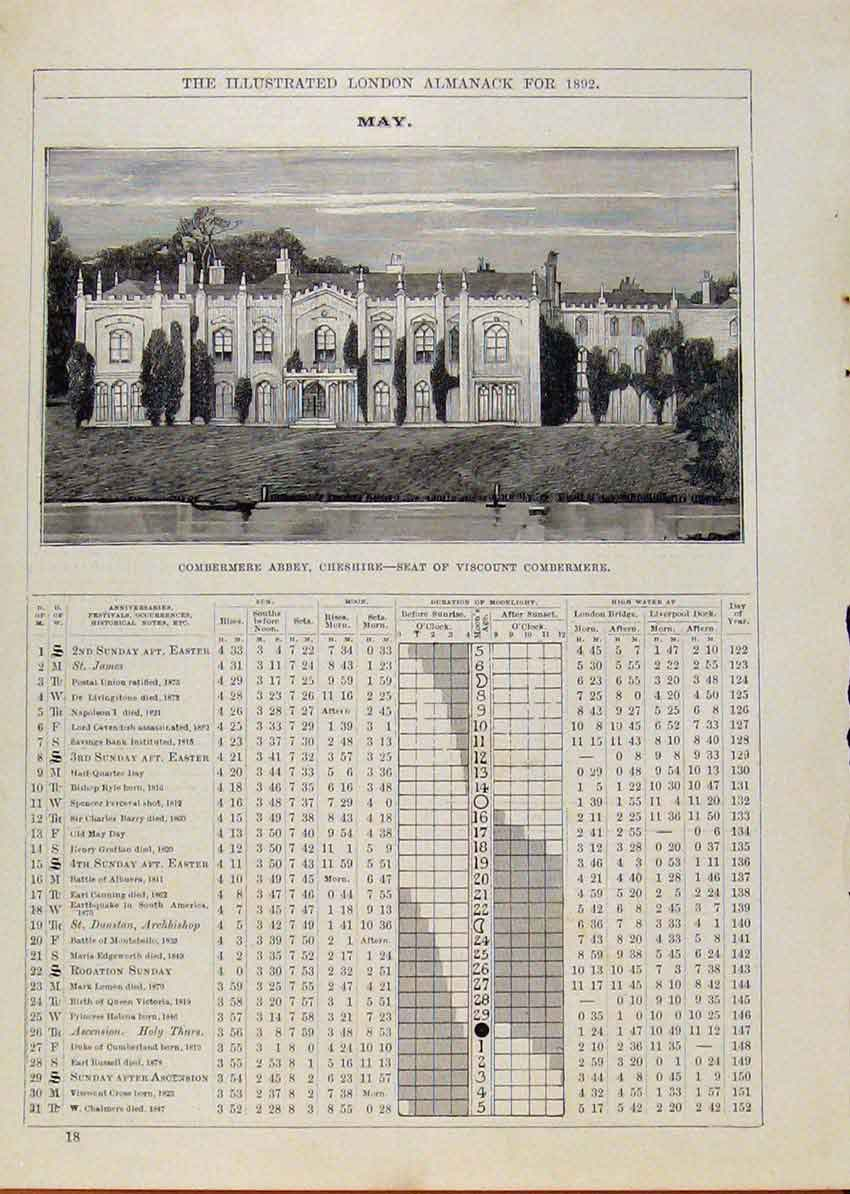 Print London Almanack May 1892 Combermere Abbey Cheshire 298901 Old Original